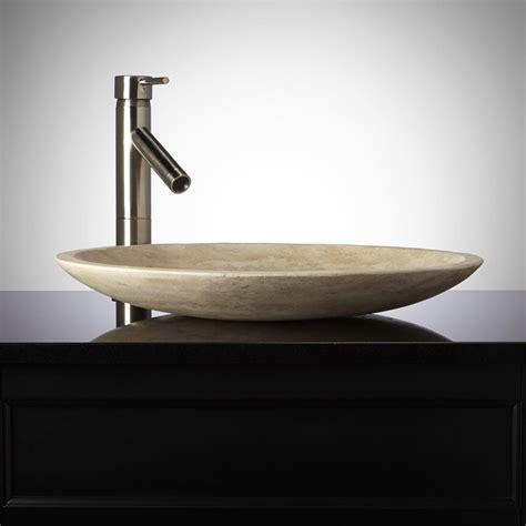 photos of vessel sinks shallow round polished beige travertine vessel sink