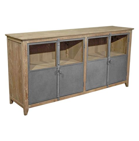 Metal Sideboard Cabinet by Chaucer Industrial Loft Limed Wood And Metal Sideboard