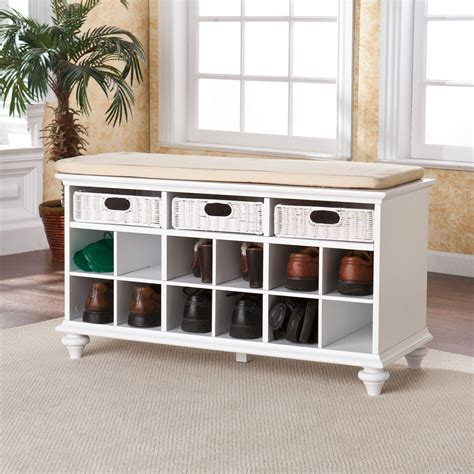 bench with shoe cubby chelmsford white entryway bench southern enterprises