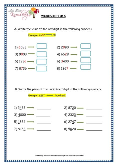 grade 3 maths worksheets 4 digit numbers 1 1 ones tens