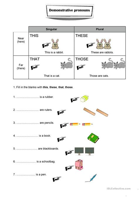 demonstrative pronouns worksheet worksheet free esl