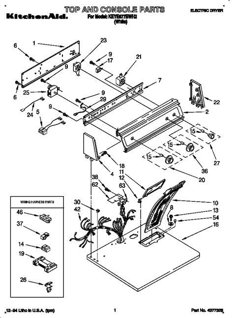 Kitchenaid Parts Dryer by Kitchenaid Electric Dryer Parts Model Keye677bwh2