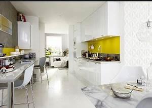 Cuisine blanche leroy merlin ouverte sur salon for Deco cuisine avec chaise blanche de salon