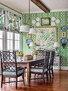 Southern, Breakfast, Room, With, Green, Wallpaper