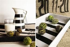 Deko In Weiß : diy deko in schwarz wei gestreift mxliving ~ Yasmunasinghe.com Haus und Dekorationen