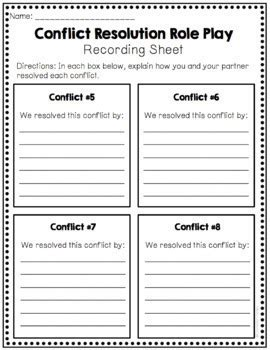 conflict resolution role play activities  counselor