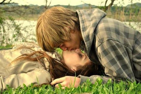 Kissing Couple Love Feelings On Grass Nineimages