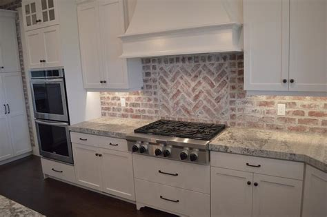 white kitchen brick backsplash brick kitchen backsplash transitional kitchen 1329