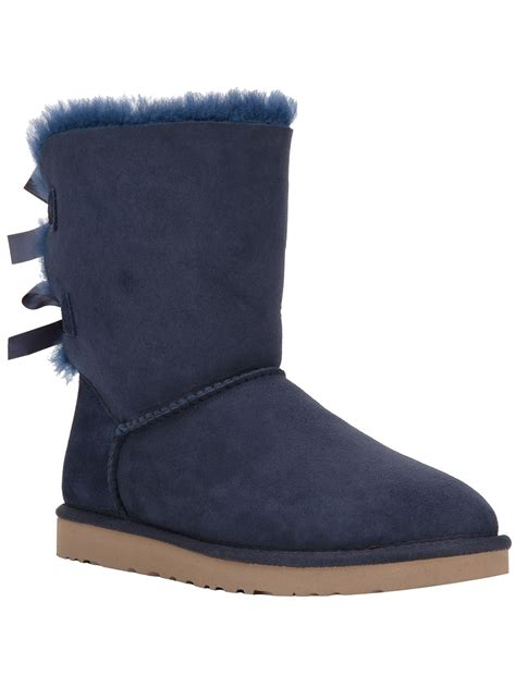 light blue uggs with bows ugg 174 classic bailey bow boots in blue lyst