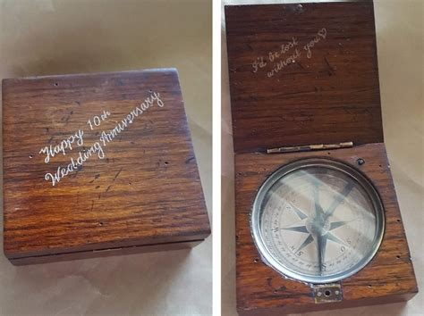 brass compass   wooden box lewis clark antique style buy  australia personalised