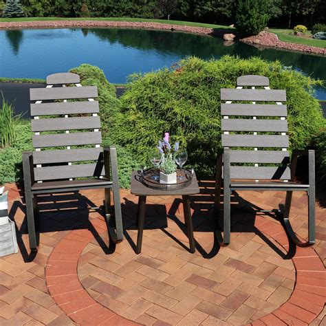 sunnydaze decor  weather slatted outdoor poly patio