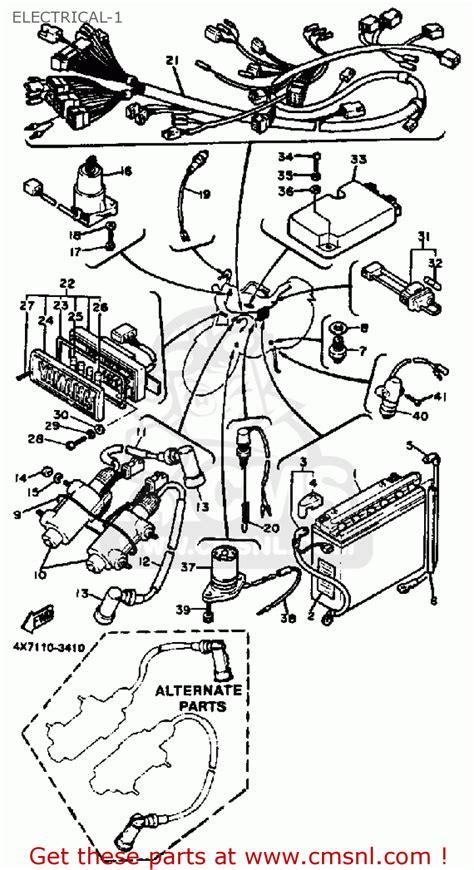 yamaha xv750k virago 1983 electrical 1 schematic partsfiche