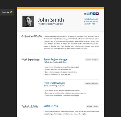 Templates For Resume Website by The Best Free Premium Cv Resume Website Template Evohosting