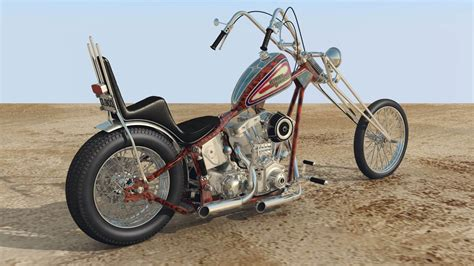 70s Old School Harley Davidson Chopper 3d Model