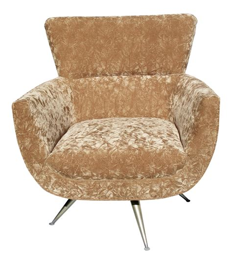 mid century gold crushed velvet swivel chair chairish