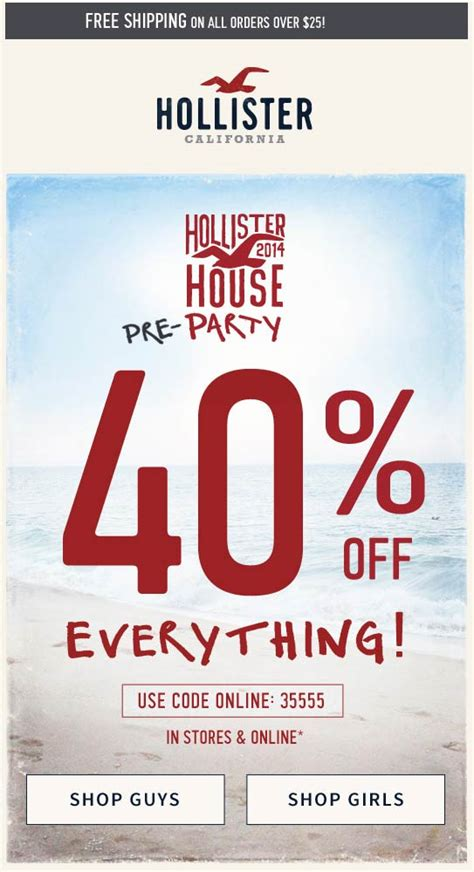 hollister coupons promotions specials  february