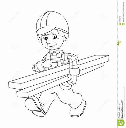 Coloring Worker Children Construction Illustration Plate Drawing