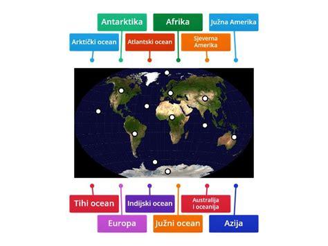 Kontinenti i oceani - Dijagram s okvirima