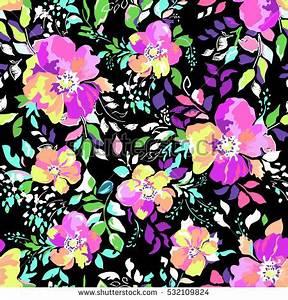 Super Cute Neon Flower Print Leaves Stock Vector