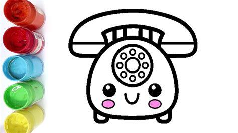 cara menggambar dan mewarnai telepon rumah