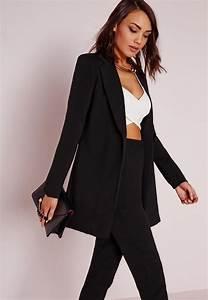 Blazer Femme Noir : blazer long noir missguided ~ Preciouscoupons.com Idées de Décoration