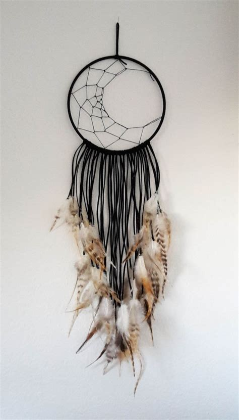 dream catcher  moon black  feathers crafting