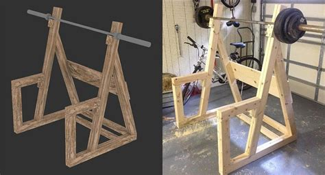 diy wooden squat rack   gym