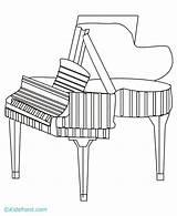 Piano Coloring Tree Magic sketch template