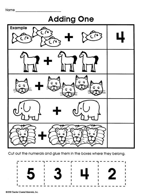 kindergarten math adding   worksheets