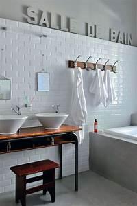 Carrelage Hexagonal Blanc : papier peint salle de bain harmonie avec carrelage ~ Premium-room.com Idées de Décoration