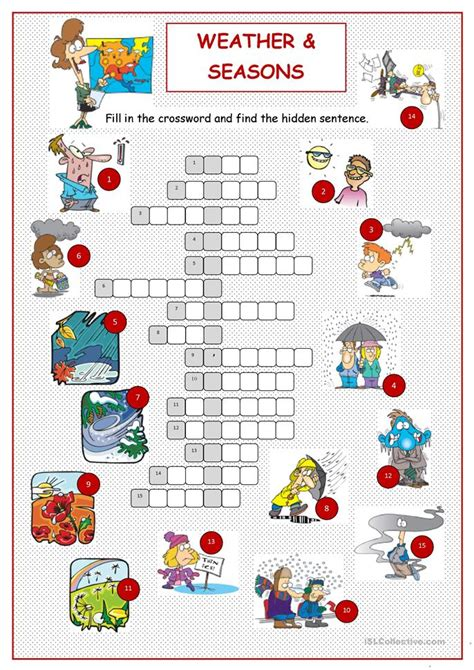 weather seasons crossword worksheet  esl printable