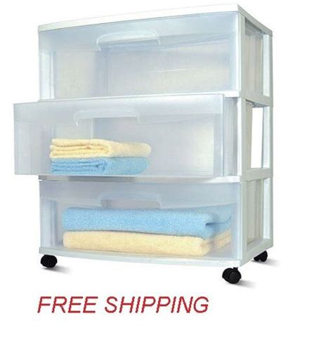 Drawer Containers by New Sterilite 3 Drawer Storage Wide Cart White Portable