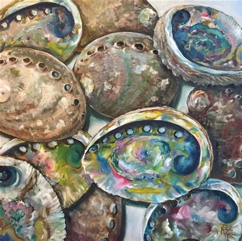 abalone shells  kristine kainer oil painting
