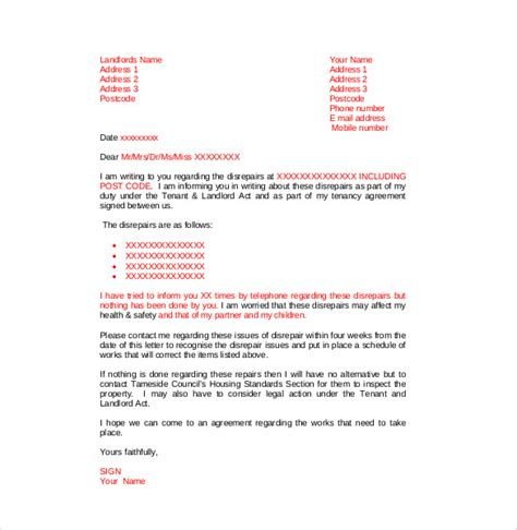 complaint letter  landlord   word  documents