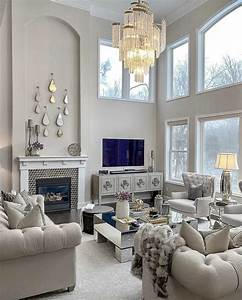 Elegant, Transitional, Style, Beige, Living, Room, Decor, With, Beige, Tufted, Sofas, And, Crystal, Cha