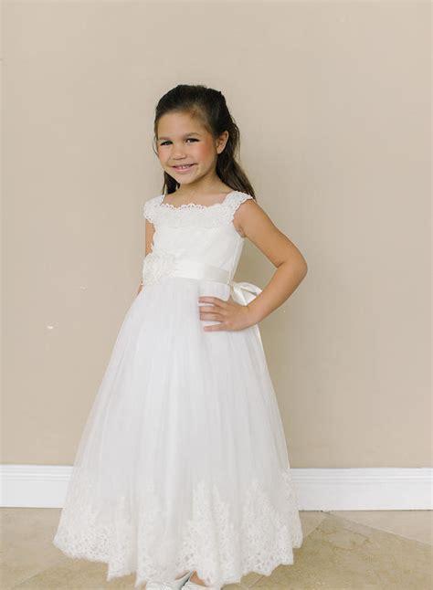 ivory full length adorable lace flower girl dress