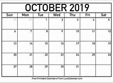 Blank October 2019 Printable Calendar Luxe Calendar