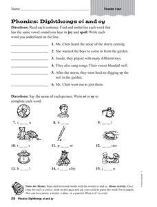 phonics diphthongs oi and oy worksheet for 3rd grade