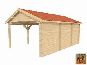 Abri Voiture En Bois : abri voiture en bois 22 m vendu en kit madriers de 44 mm ~ Nature-et-papiers.com Idées de Décoration