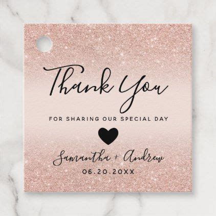 Rose gold glitter blush pink thank you wedding favor tags