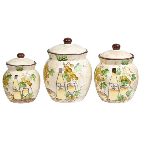 rooster kitchen canister sets white grape ceramic 3 deluxe canister set