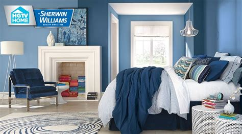 sherwin williams blue denim light blue noteable hue  open seas add  red showstopper cottage bedrooms blue bedroom walls bright blue