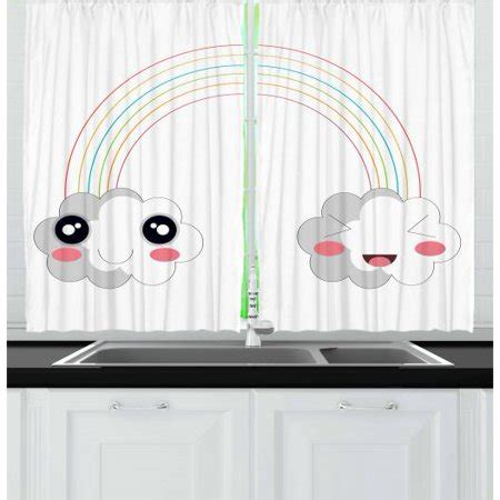 anime curtains  panels set  clouds   rainbow