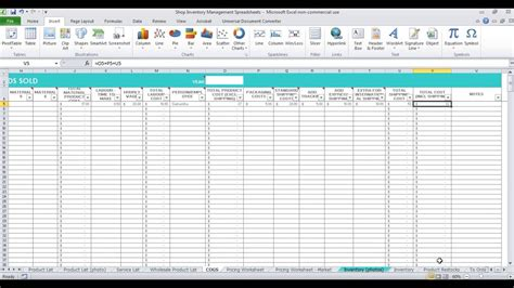 How to keep track of inventory (spreadsheet for Etsy