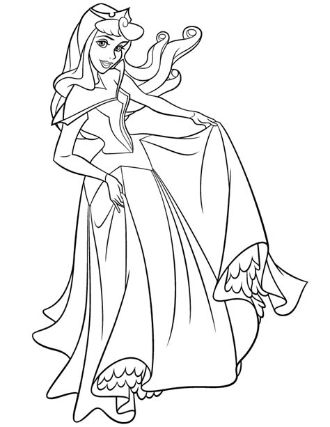princess aurora posing  pictures coloring page