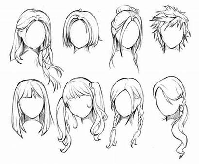 Hairstyles Anime Draw Female Hair Drawing Drawings