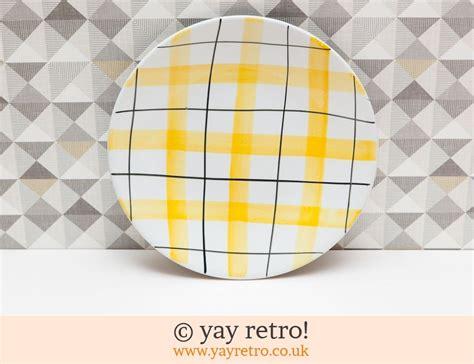 yellow check dinner plate  buy yay retro handmade crochet  arts crafts shop