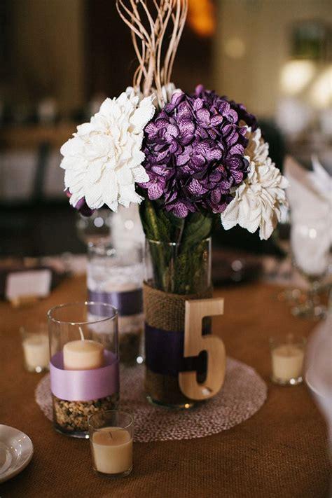 purple centerpiece ideas  pinterest wedding