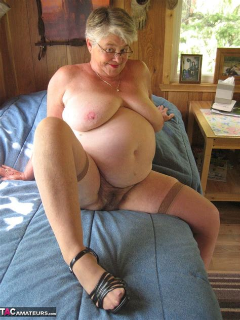 Short Haired Granny Girdle Goddess Stripping To Her