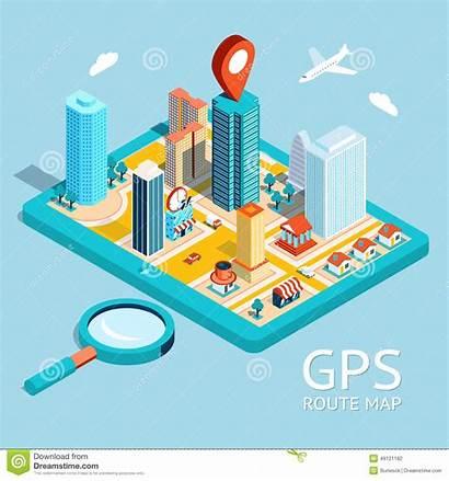 Gps Map App Navigation Route Illustration Vector